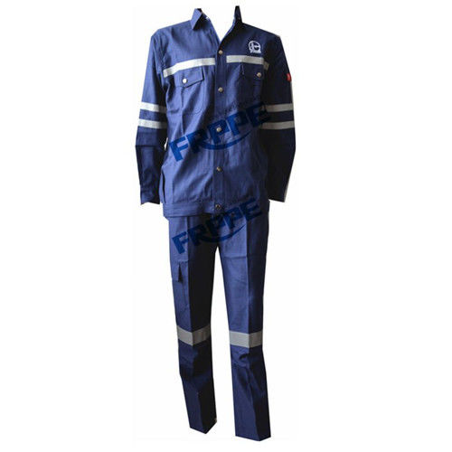 Navy Blue Cotton Flame Retardant Suit For Welding Industry Anti Static