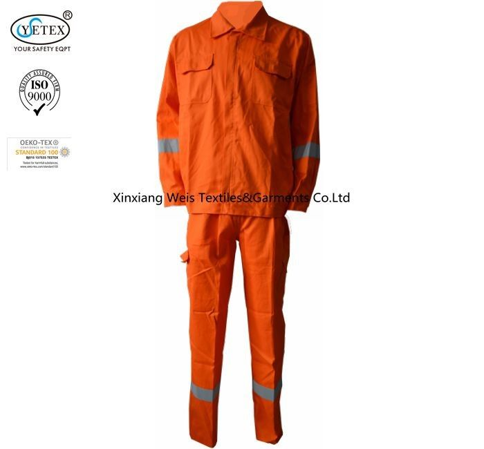Orange Cotton Fire Resistant Suit Boiler Arc Flash Protective 220gsm